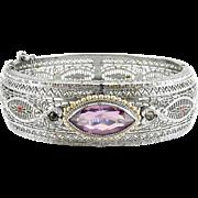 1920's Art Deco Filigree, Enamel, Amethyst Crystal & Faux Pearls Hinged Bangle Bracelet