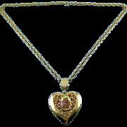 SALE Vintage Heart Locket with Fragonard Romantic Lovers Plaque & Necklace