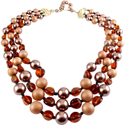SALE 1950's Amber Glass & Cocoa Simulated Pearls 3-Strand Adj. Necklace - Japan, Exc. Cond.