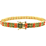 SALE Joan Rivers Peridot Crystal & Coral Bead Line Tennis Bracelet - Classics Collection, ...