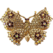 Joan Rivers Lg. Champagne Rhinestone Butterfly Pin- MIB, Floral Pattern