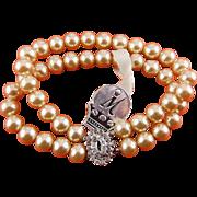 1950's Marvella 2-Row Faux Pearl Bracelet, Rhinestone Clasp, Orig. Marvella Tag