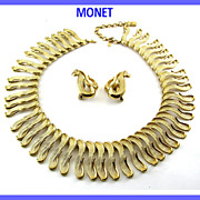 SALE Vintage MONET S-Curves Wide Adj. Collar Necklace & Earrings