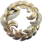 SALE PANETTA Gold Tone Leafy Wreath Circle Pin with Rhinestone Leaves