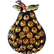 SALE 1960's PEAR Fruit Pin -  Bright Topaz Rhinestones & Enamel with Japanned Black Body