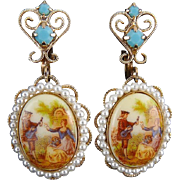 1960's Romantic 18th C Design Scene & Faux Pearl , Turquoise Rhinestone Earrings - Juliana D&E
