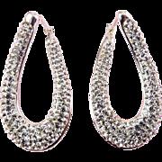Sterling Silver Twist Oval Hoop Earrings, Rhinestone Pave, Pierced