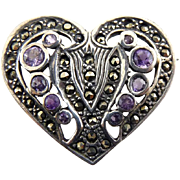 SALE Sterling Silver Heart Pin with Graduated Purple Amethysts and Marcasites