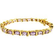 SALE Amethyst Line Tennis Eternity Bracelet, Sterling Silver, Gold-Plated