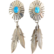 SALE Sterling Silver & Turquoise Native American Style Concho & Feathers Dangle Earrings