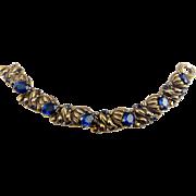 1939 Trifari Floral, Sapphire Blue Glass Stones & Enamel Bracelet-Alfred Philippe