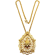 Crown TRIFARI Mod 1960's Gold Tone Paisley Teardrop Pendant Necklace