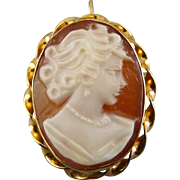 Van Dell 14K Yellow Gold Mount Carved Shell Cameo Pin / Pendant - Convertible