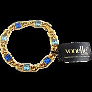 Vintage Swarovski VONELLE Gold Plated Bracelet with Blue Austrian Crystals - Original Tag
