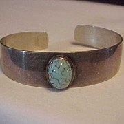 Sterling Silver Cuff Bracelet by Beau with Turquoise Stone