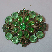 Large Vintage Green Czech ( unsigned ) Molded Glass & Rhinestone Brooch