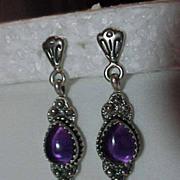 Sterling Silver & Amethyst   Pierced Post Long Dangle Earring