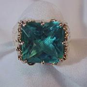 REDUCED Gorgeous Large Ring 925 Gold Wash Size 6 Bright Aqua Blue Zirconia