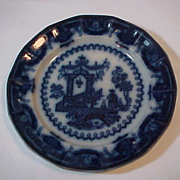 "Flow Blue Ironstone 9 1/2 "" Plate Pattern Oregon"