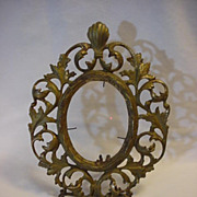 Metal Ornate Oval Easel Table Top Picture Frame Vintage