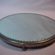Mirrored Round tray display or dresser tray  Beveled & Fancy Etched Sides Footed