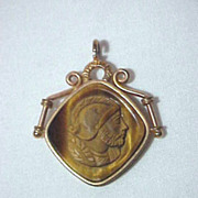 Pocket Watch Fob Tiger Eye Warrior Cameo