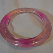 Bangle Bracelet Pink orange  to  Clear w/ Speckles  flecks wide to thin Translucent Plastic