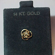 14K Yellow Gold Tie Tack Lapel Pin w/ Prong set Diamond