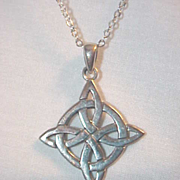 Vintage Sterling Silver Celtic Pendant & Silver Box Chain