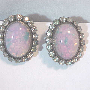 Sterling & bold Opal & prong Set rhinestones Vintage Screw Back Earrings