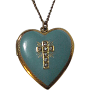 Heart Locket Golden Blue Enamel top Rhinestone Cross