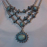 Necklace Bib Choker Western Them Silver & Turquoise Marked NR For Nina Ricci