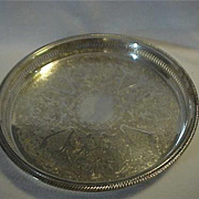 REDUCED Very Large Round with Gallery edge Silver Tray by Leonard