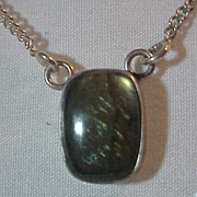 Sterling  Necklace Sterling Drop Pendant Green Moonstone choker