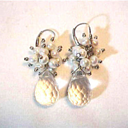 Real Crystal  Tear Drop   & Pearl Pierced Earrings Long Dangle Bride Mother of Bride