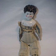 Vintage Doll Porcelain  China Head  & Cloth  Hand made body 10 1/2 inches tall