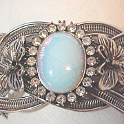 Wide Cuff Silver Braided Railroad Track   Bracelet Butterfly's Rhinestone Opalite Center