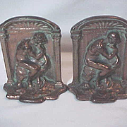 "PAIR Vintage  Bronze Tone  Cast  Iron  Bookend  RODIN'S "" THE THINKER "" Book ends Bo"