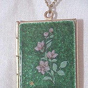 Locket Pendant Enamel top Book & Chain  Necklace Vintage Flowers