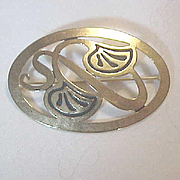 Oval Pin Art Deco Art Nouveau Marked Designer Status Golden Art Nouveau Swirls  Inlay