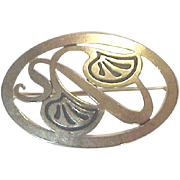 Oval Pin Art Deco Art Nouveau Marked Designer Status Golden Art Nouveau Swirls  Inlay