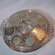 Fire King Georges Briard Covered Casserole 2 quart Gold and Turquoise Medallions
