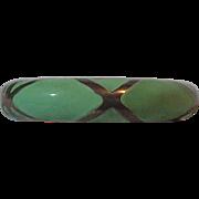 Cuff Clamper Bracelet Goldtone & Green Jadeite Enamel Beautiful