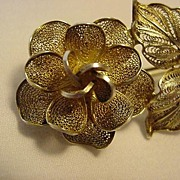REDUCED 900 Silver Large Flower Filigree Pin