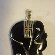 REDUCED Onyx Elephant 10K Gold Decoration Pendant