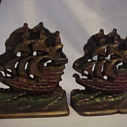 REDUCED Heavy Galleon Full Sail Colored Patina Ship Bookends
