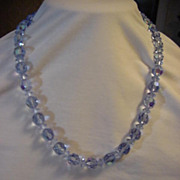 Necklace Sparkle Blue Ice Blue Crystal Glass Bead 20""