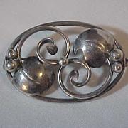 Oval Sterling Silver Pin Brooch Denmark SCF