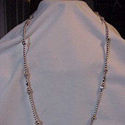 Sterling Silver Long Beaded Necklace Mixed Size of Beads 31""
