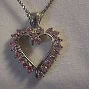 REDUCED Sterling Silver Heart Pendant Soft Pink Stones Sterling Box Chain